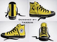 Custom Harry Potter: House Hufflepuff Converse Chucks by Tannim Converse All Star, Tenis Converse, Converse Shoes, Converse High, Game Of Thrones, Formation Digital, Gorillaz, Sweet Games, Mode Shoes