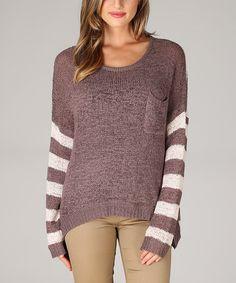 Brown & Ivory Stripe Button-Back Sweater - Women by Pinkblush #zulily #zulilyfinds
