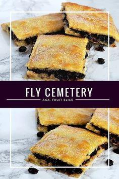 Fruit Slice (Fly Cemetery) - Baking with Granny Baking Recipes, Cake Recipes, Dessert Recipes, Desserts, Oven Recipes, Pudding Recipes, Dessert Bars, Baking Ideas, Scottish Recipes