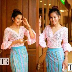 Traditional Dresses Designs, Myanmar Dress Design, Girl Fashion, Fashion Dresses, Myanmar Traditional Dress, Burmese, Girl Style, Designer Dresses, High Waisted Skirt