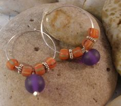 Sterling Silver Hoop Earrings with African Trade by MagnoliaStudio, $24.00