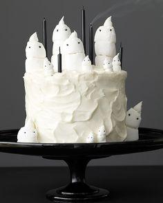 Chocolate Marshmallow-Ghost Cake and Mini Cupcakes - Martha Stewart
