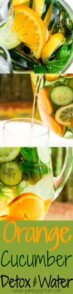 Refreshing detox water infused with orange, cucumber, lemon, mint, and dill.  Burn FAT and cleanse your body!