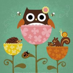 All posters.co.jp Owl, Squirrel and Hedgehog in Flowers