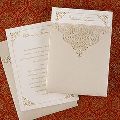 Through the Shimmer invitation from the Simple but Elegant collection by Carlson Craft. The classic and elegant design features an intricate lace die cut shimmer pocket with stylish gold bordered inserts. See more at www.frostedpink.carlsoncraft.com