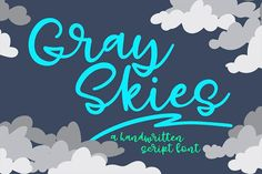 Introducing Gray Skies, a new connecting script font! It all started with the letter Y -- instead of a loop at the bottom, I drew a kind of zig-zag smiling-mouth shape. That weird loop ended up inspiring a lot of the other characters, and a new script font was born!