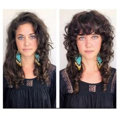 Before and after images of haircuts at Edo Salon and Gallery in San Francisco. Salon owner Jayne Matthews estimates at least 80 percent of clients fin. Curly Hair With Bangs, Curly Hair Cuts, Short Curly Hair, Hairstyles With Bangs, Curly Hair Styles, Curly Hair Layers, Curly Mullet, Frizzy Wavy Hair, Thin Wavy Hair