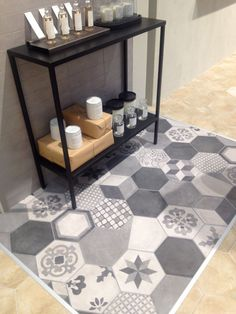 Hexagons tiles in a patchwork design. #HEXLOVE #HEXAGONTILES #TILETRENDS #CASTELNAUTILES #LONDON