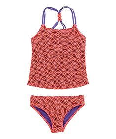 This Beach Rays Coral Lace Tankini - Girls by Beach Rays is perfect! #zulilyfinds