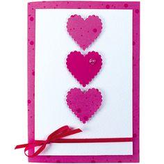 """Ystävänpäiväkortti """"Kolme sydäntä"""" Sinellin tapaan. ;) Valentines Art, Day, Scrapbooking, Craft, Scrapbooks, Memory Books, The Notebook"""