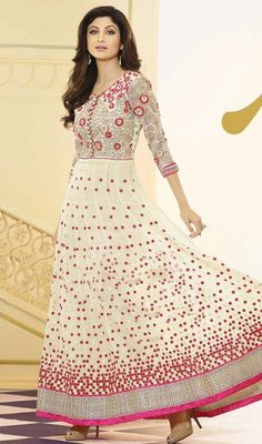 Flaunt your sophistication just like Shilpa Shetty dressing in this cream embroidered georgette flared Anarkali suit. The wonderful dress creates a dramatic canvas with brilliant floral patch, lace, resham, sequins and stones work. #AmazingFloralWorkLongAnarkaliCollection
