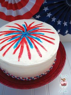 Lovely red white and blue Fireworks cake for the 4th! @birdonacake