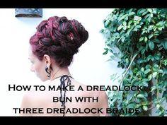 How to make a dreadlock bun with three dreadlock braids | Dreadstuff