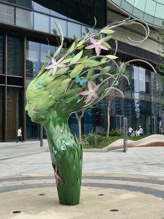 Botanical sculpture. Painted stainless steel and bronze head by Irish artist Linda Brunker, Suzhou, China Sculpture Projects, Sculpture Art, Public Art, Bronze, Outdoor Structures, Gallery, Garden, Suzhou, Artist