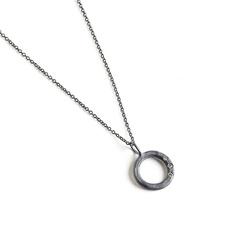 Circle necklace oxidized silver with white diamonds