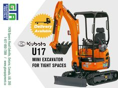 Kubota U17. Spacious, comfortable and, more productive, yeat it fits in the tightest spaces. Rent on for your next job! #heavyequipment #constructionequipment #excavator #oakville Heavy Equipment, Outdoor Power Equipment, Mini Excavator, Kubota, Gta, Ontario, Spaces, Fitness, Garden Tools
