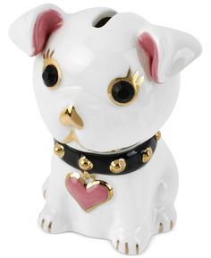 Betsey Johnson Piggy Bank, Ceramic and Gold-Tone Dog Bank - Fashion Jewelry - Jewelry & Watches - Macy's