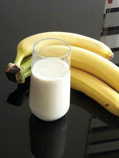 My first  1 cup milk 2 tbsp honey 3 tbsp vanilla yogurt 1 banana 1/2 cup apple juice