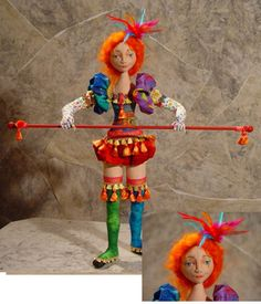 "Cloth Art Doll ""Dorinda - The Tightrope Walker"" by Barbara Schoenoff. I made her, she is great"