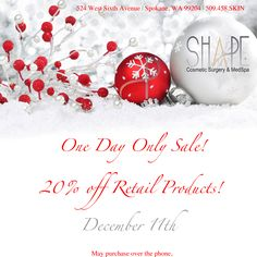 20% off Holiday Product Sale! One Day only December 11th! Call 509-458-7546!