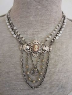 ethereal - antique cameo assemblage rosary necklace with joan of arc by the french circus