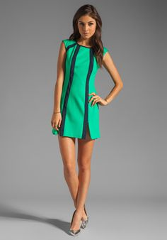 NANETTE LEPORE Underground Ponte Dress in Gumball Green/Navy at !