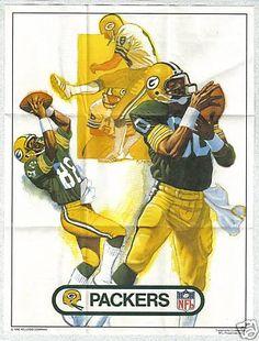 1982 Kellogg's Raisin Bran Cereal NFL Team Poster Insert Green Bay Packers