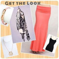 Get the Look! Our pink coral maxi skirt, pairs perfectly with a simple cami & our fun printed tribal waterfall vest. #monogramnecklace #infinitybracelet #armcandy
