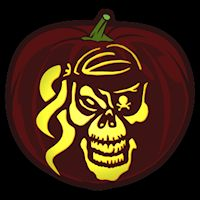 Pirate Skull - Pumpkin Stencil Pumpkin Eyes, Skull Pumpkin, Pumpkin Stencil, Pumpkin Carving, Scary Things, Pirate Skull, Stencils, Creepy Things, Pumpkin Carvings