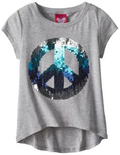 Cap Sleeve High-Low Top with Sequin Applique, Silver Heather
