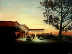 """Filling Station"" by Walter Meyer, whose urban and rural landscapes read like short stories. South African Art, Contemporary African Art, Filling Station, Conceptual Photography, Landscape Paintings, Oil Paintings, Artwork, Brother, Artists"