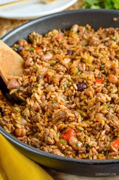 The Whole family will love this delicious One Pan Spicy Beef, Beans and Rice - syn free on Slimming World and perfect for a quick dinner.