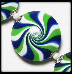Seattle Seahawks... Handmade Polymer Clay Beads Set Blue Lime