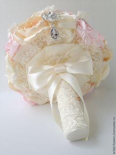 Купить Брошь букет невесты. Пионы айвори бежевый розовый - брошь букет, брошь-букет