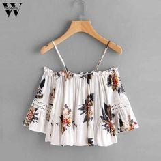 4764a14174b CharmDemon top tank womens Floral Lace Casual Off Shoulder Shirt Blouse  Cami Top women summer clothing