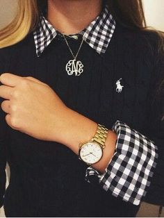Love the gingham blouse under the solid sweater
