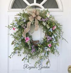 Garden Meadow Wreath-Spring Wreath-Spring Door Wreath-Summer Wreaths-Easter Wreath-Cottage Wreath-Bird Wreath-Wedding Wreaths by ReginasGarden on Etsy https://www.etsy.com/listing/574243004/garden-meadow-wreath-spring-wreath