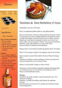 Tartelettes de Saint Barthélémy d'Anjou Drink Photo, English Food, Loire, Cantaloupe, Ice Cream, France, Fruit, Cooking, Recipes