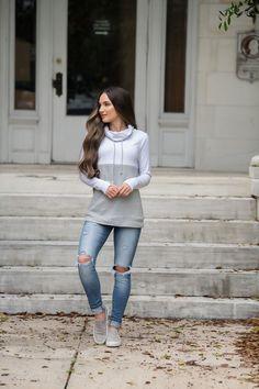 83e69760ce31a Colorblock Nursing Pullover - Hidden Zipper - Light Gray Gray