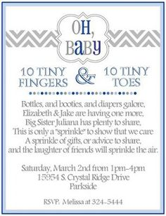 tiny fingers tiny toes baby sprinkle shower invitation use any wording on any