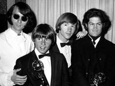 """The Monkees at the 1967 Emmy Awards.  The series won for Best Comedy Series and Directing (James Frawley, for """"Royal Flush)"""