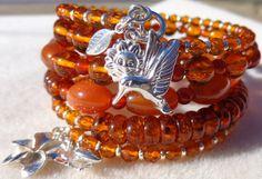 Multi strand Bracelet, Memory Wire Bracelet, Coiled Bracelet, Carnelian Bracelet, Amber Bracelet, Sterling Charm Bracelet, Plumeria Bracelet on Etsy, $215.00