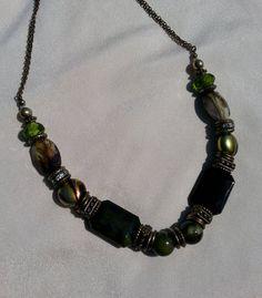 Fall Jewelry  Green Beaded Necklace   Green by MissGawdysJewelry