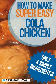 This 4 Ingredient Cola Chicken Recipe is so simple and delicious, it's almost too good to be true. In only 3 easy steps, you can have this on your dinner table. With only 4 simple ingredients, this quick chicken recipe is a snap to make. Prepare for excitement and anticipation from your dinner guests whenever they smell the mouth-watering aroma of this easy chicken recipe simmering. Try this skillet chicken recipe for dinner tonight! Easy Salad Recipes, Easy Salads, Easy Healthy Recipes, Easy Dinner Recipes, Snack Recipes, Easy Meals, Cola Chicken, Chicken Skillet Recipes, Dinner Tonight