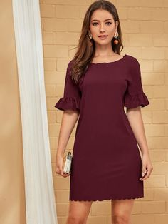 To find out about the Scallop Ruffle Sleeve V-Back Zip Dress at SHEIN, part of our latest Dresses ready to shop online today! Belted Dress, Striped Dress, Elegant Dresses, Casual Dresses, Types Of Sleeves, Dresses With Sleeves, Scalloped Dress, Vestido Casual, Hot Dress