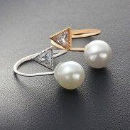 Pearl Crystal Triangular Diamond-bordered Fashion Plastic Open Ring