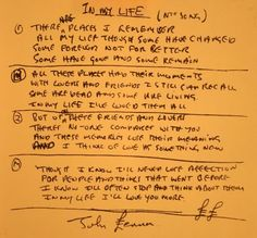 I love lyrics and seeing original handwritten lyrics is an extraordinary treat. These are the lyrics to one of my (many) favorite Beatle's songs. This picture is from the Beatle's historical website. Beatles Songs, The Beatles, Beatles Bible, Beatles Quotes, Life Lyrics, Music Lyrics, Liverpool, Rubber Soul, Love Me Do