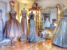 Joanne Fleming Design: The studio showroom. Wedding Frocks, Wedding Dresses, Boudoir, Frock And Frill, Fairy Dress, Clothes Pictures, Cape Dress, 1940s Dresses, Vintage Gowns