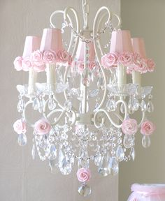 This timeless, vintage-inspired 5-light chandelier has been painted a beautiful antique white and features gorgeous Dupioni Silk Pink shades, trimmed with sweet Mulberry paper roses. fancy-cut glass b
