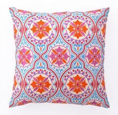 Orange and Blue Embroidered Pillow. Product in photo is from www.wellappointedhouse.com
